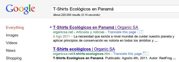 resultados en google para t-shirts ecologicos en panama