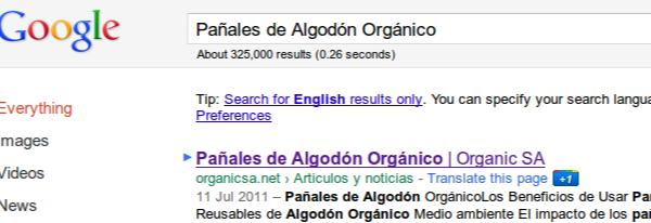 """resultados en Google por """"Panales de Algodon Organico"""""""