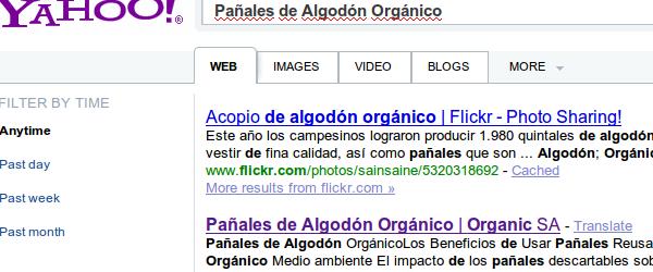"""resultados en Yahoo por """"Panales de Algodon Organico"""""""